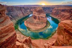 "Horseshoe Bend, Arizona The image depicted is named Horseshoe Bend at Sundown. It captures a beautiful oasis in the Arizona desert. The Grand Canyon seems so barren at first glance. This image dares you to look closer. To see life teeming at the banks of the mighty Colorado River. A River that so diligently carved this mighty canyon. Now it gently brings new life. As the sun sets on this beautiful scene, it calls out to the viewer, ""come, experience it for yourself!"" (Visited 78 times, 1…"