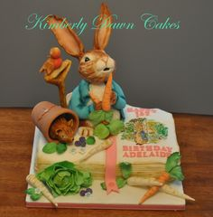 Peter Rabbit Birthday Cake - This cake was a joy to make! Maybe because I loved Peter Rabbit as a youngster! Everything on this cake is edible! The book page is hand painted. I will post a picture of the sugar cookies I made to match. Peter Rabbit Cake, Peter Rabbit Birthday, Rabbit Illustration, Cake Central, Character Cakes, Sugar Cookies, The Book, Cake Decorating, Birthday Cake