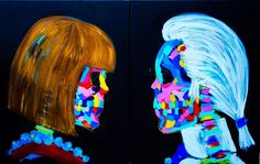 Anna and Karl Face Off. Acrylic and oil stick on canvas. Bradley Theodore.