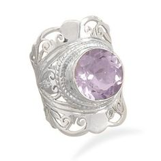 Large ornate sterling silver ring with center pale amethyst stone. Top design area of ring measures This ring is available in whole sizes Jewelry Show, Jewelry Stores, Jewelry Rings, Fine Jewelry, Jewelry Design, Wholesale Silver Jewelry, Amethyst Jewelry, Size 10 Rings, Silver Stars