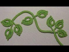 Knitting leaf sprigs on a caterpillar cord-Вязание веточки листиков на шнуре гусеничк… Crochet leaf sprigs – Crochet leaf sprigs – Crochet leaf sprigs - Crochet Flower Patterns, Crochet Designs, Crochet Flowers, Knitting Patterns, Crochet Dollies, Freeform Crochet, Crochet Motif, Stitch Crochet, Crochet Crafts
