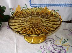 Vintage Pressed Glass Cake Stand Amber Glass by MOLLIESFARM, $18.00