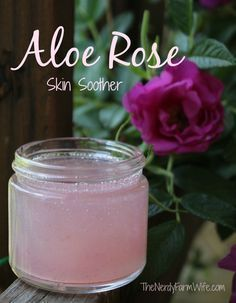 Rose Skin Soothing Gel - Aloe vera and fresh rose petals combine to make this soothing gel that's useful for sunburn bug bites rashes dry skin eczema psoriasis razor burn minor cuts/scrapes and radiation burns. Herbal Remedies, Natural Remedies, Holistic Remedies, Fresh Rose Petals, Homemade Beauty Products, Tips Belleza, Diy Skin Care, Homemade Skin Care, Home Made Soap