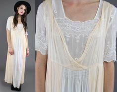Vtg 90s 70s White Peach Boho Hippie Crochet Embroidered Maxi Dress S-M. $156.00, via Etsy.