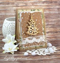 Klaudia/Kszp Sept 2015 Create Christmas Cards, Christmas Flowers, Christmas Greeting Cards, Greeting Cards Handmade, Holiday Cards, Handmade Christmas, Christmas Crafts, Snowflake Cards, Craft Day