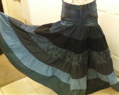 Woman's Denim Long Tiered Skirt!!! by luisalove30 on Etsy