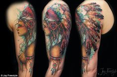 Jay is famous for his stunning native American girls, here seen on an upper arm...