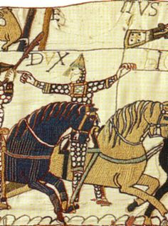 The Bayeux Tapestry, 11th century. Laid threads, a surface technique in wool on linen.