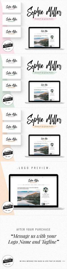 Watercolor Blog Branding, Watercolor Blog, Business Logo, Blog Logo, Premade Branding Package, Photography Logo, Watermark, Photographer Set