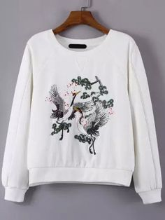 SheIn offers White Crew Neck Crane Embroidered Sweatshirt & more to fit your fashionable needs. Cute Sweatshirts, Sweatshirts Online, Hoodies, Girls Fashion Clothes, Fashion Outfits, Clothes For Women, Modesty Fashion, Floral Print Shirt, Fantasy Dress