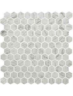 "Daltile Uptown Glass Carrara 1"" Hexagon Floor Mosaic Tile #Uptown_Glass #Carrara_Marble #Hexagon_Mosaic"