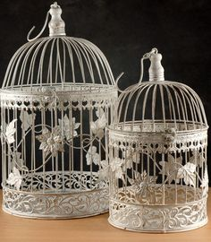 "Wedding Bird Cages   White Metal Round Butterfly, Flowers & Ivy  18"" & 13"" (2  Birdcages)  - so much at this website!"