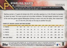 2016 Topps Holiday Baseball #HMW6 Starling Marte Back
