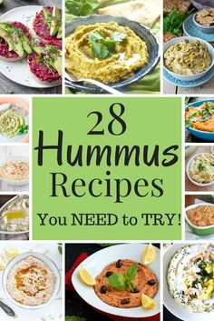 Best Hummus Recipes - Vegan Family Recipes - 28 Hummus Recipes You NEED to TRY! – This hummus round up makes sure you never have to make the s - Unique Hummus Recipe, Best Hummus Recipe, Hummus Tahini Recipe, Humas Recipe, Vegan Finger Foods, Vegan Snacks, Healthy Snacks, Whole Food Recipes, Cooking Recipes