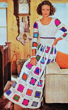INSTANT DOWNLOAD PDF Vintage Crochet Pattern  Granny Square Maxi Dress Retro