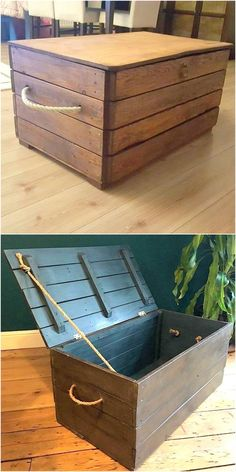 Unique Ideas With Old Used Pallets Wood - Pallet Reuse Wood Pallet Crafts, Pallet Wall Art, Diy Pallet Projects, Pallet Toy Boxes, Pallet Storage, Wooden Toy Chest, Wooden Toy Boxes, Pallet Night Stands, Boys Toy Box