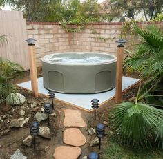 EZ PAD® - Hot Tub Spa Base-I like the stepping stones and the landscape lighting too.