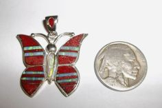 Native American Zuni Sterling Silver Coral Opal Butterfly Pendant