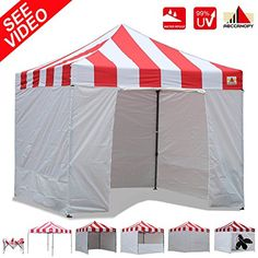 AbcCanopy Carnival Canopy 10x10 Heavy Duty Pop Up Canopy Tent With Walls For Outdoor Event Bouns 4x Weight Bag REDWHITE WITH WHITE WALLS ** Be sure to check out this awesome product.