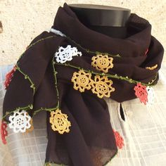 SALE Turkish OYA Lace   Cotton stole BROWN Scarf Shawl For