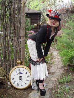 Alice in wonderland wedding dress tailcoat and top hat by Retro G Couture Gothic Lolita dolly Kei Aristocrat  steampunk bohemian goth tea party avant Garde fashion style women