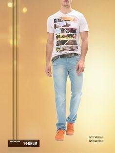 Camiseta, cinto, sapato e  jeans FORUM,