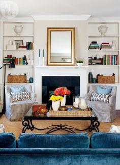 Blue velvet living room sofa