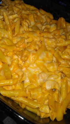 Buffalo Chicken Pasta Bake originally from Homemade Delish: 1 16 oz. box Penne pasta, cooked and drained 3 boneless, skinless chicken breasts; cubed and cooked 1/2-1 C. Franks Hot Sauce 3/4 -1 C. Ranch dressing (or Blue Cheese) 1-2 C. Shredded cheese (Colby Jack or Cheddar)