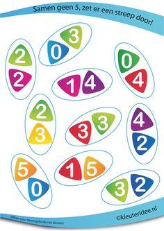 Samen 5 of samen geen 5, juf Petra van kleuteridee, rekenen met kleuters, together 5 or not, free preschool printable.