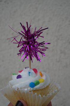 Magenta Tinsel Cupcake Topper. 20 pieces