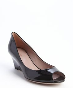 Gucci black leather peep toe wedge heel pumps | BLUEFLY up to 70% off designer brands