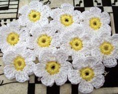 Crochet Flower AppliquesYellow Green Blue Set of 3
