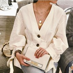 "f549c316c2 Street Style Blogger on Instagram  ""Creamy  annieeechiu wearing Zara  Pleated Top ( 7563 044)"""