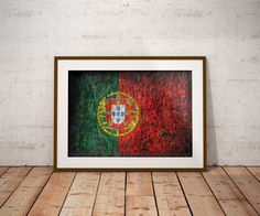Hand painted Flag of Portugal. Portuguese Flag. Wall decor.