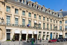 The Ritz Paris, situated in Place Vendome, is a palatial hotel in the heart of the city with 159 rooms and an exterior that resembles an 18th century townhouse
