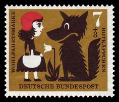 Vintage German stamp features Little Red Riding Hood and the wolf