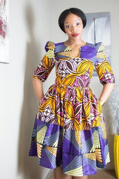 Purple African print dress purple dress by EssieAfricanPrint Latest African Fashion Dresses, African Dresses For Women, African Print Dresses, African Print Fashion, Africa Fashion, African Attire, African Wear, African Inspired Fashion, African Women