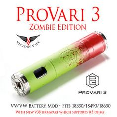 ProVari P3 • w upgraded 38 firmware to 0.5 ohms • in Satin Silver • VaporForce Stealth • Zombie • Gun Metal Grey • Satin Black • Polished Stainless • Satin Celtic Knot • Red Soft Touch • White Soft Touch • Titanium • Iced Stainless • Tiffany Blue