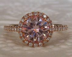 Peachy Pink Moissanite in Rose Gold Diamond Halo Engagement Ring, by JuliaBJewelry on Etsy