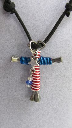 Patriotic Birthstone Disciples Cross Horseshoe by IsleOfCraftin, $15.00