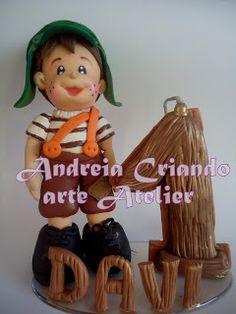 Atelier Criando arte com Andréia: Topo de bolo boneco chaves de biscuit!!!!!!