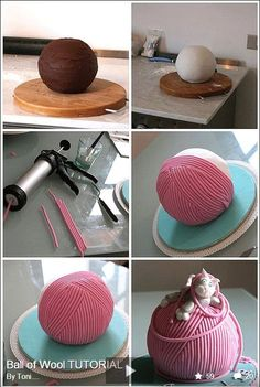 Tutorial-Ball of yarn cake Cake Decorating Techniques, Cake Decorating Tutorials, Decorating Ideas, Fancy Cakes, Cute Cakes, Knitting Cake, Sewing Cake, Yarn Cake, Fondant Toppers