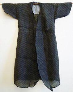 "A Resist Dyed Bashofu ""Kimono Dress"": Okinawan Banana Fiber Cloth (Bashofu shows very distinctive characteristics: it is lightweight, almost translucent and extremely durable) Japanese Textiles, Japanese Fabric, Shibori, Kimono Dress, Couture, Yukata, My Style, How To Wear, Clothes"