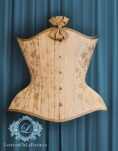 """Here's another beauty that recently went to its new home. A third piece for this client's collection, this corset has a 21"""" waist with a conical rib shape and dramatic hip spring. The pieces are carefully drafted, cut, and stitched to accommodate a slight asymmetry. This smaller corset of hers was made to allow the wearing of some antique gowns! Toronto, Boned Corsets, Petticoats, Couture, Burlesque, Bespoke, Third, Ruffle Blouse, Lingerie"""