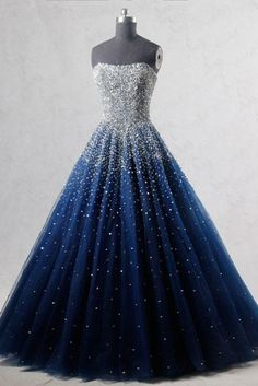 Sparkly A-Line Strapless Navy Blue Tulle Long Prom/Evening Dress with Beading