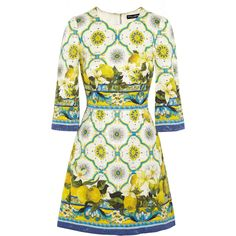 Dolce & Gabbana Printed jacquard mini dress (¥190,520) ❤ liked on Polyvore featuring dresses, dolce & gabbana, short dresses, yellow, short mini dresses, circle skirt, white circle skirt, short white cocktail dress and short white dresses