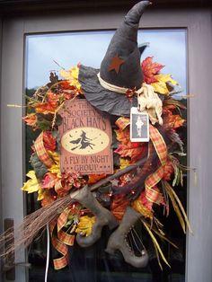 The SOCIETY of BLACK HATS  xxl Primitive Halloween Wreath Decoration. $229.95, via Etsy.