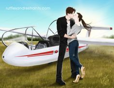 In Fifty Shades of Grey, Christian surprises Ana with an exciting glider flight in the Georgia skies. But I decided to try creating an illo depicting Christian treating Ana to even more excitement soon after arriving back on solid ground ;)