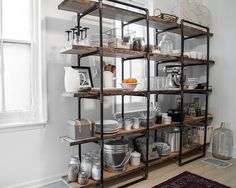 Before & After: Christina's Kitchen   Design*Sponge. Like this shelving unit. Not too hard to construct.