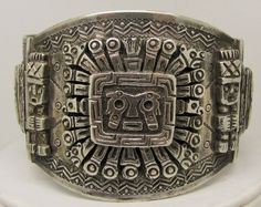Antique Sterling Silver Taxco Mexico 3 Panel Pre Columbian Mayan Motif Bracelet